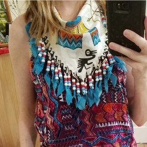 Vintage Beaded Handmade Native American Scarf